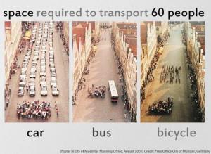 ¿ Cuánto espacio se necesita para transportar a 60 personas ?